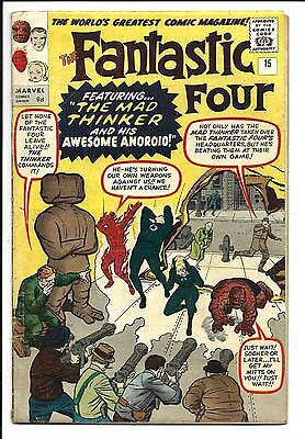 FANTASTIC FOUR # 15 (1st App. MAD THINKER, JUNE 1963), VG+