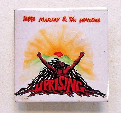 1983 BOB MARLEY & THE WAILERS UPRISING square celluloid pinback button REGGAE