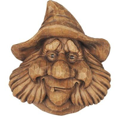 Beard Sculpted face Wood Spirit Rustic Carved Bird House For Charm Yard Garden