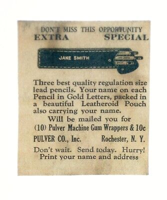 Pulver  --Advertising Card For Front Of Pulver Machine