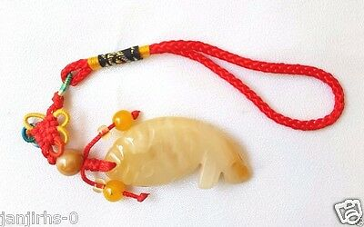 Pendant Lucky Jade Fish Natural Honey Color Healthy Protection Charms Keychain