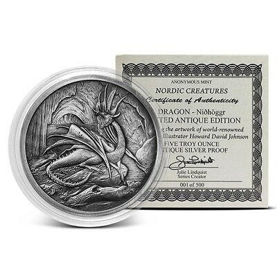 Celtic Lore Series - The Red Dragon 5 oz .999 Silver Antiqued Finish Round Coin
