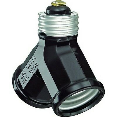 Leviton 007-128-000 Brown Twin Lamp Socket Light Adapter