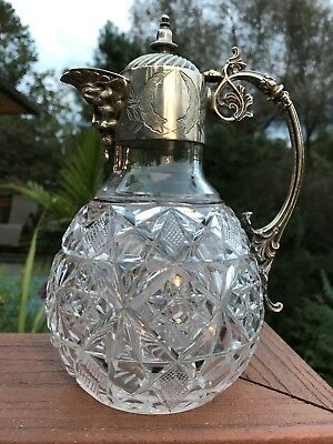 tunning BACCHUS Face Victorian Cut Crystal and Silverplate Claret Jug