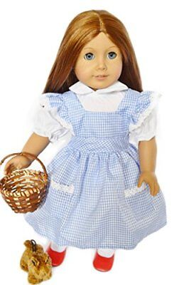Halloween Dorothy Costume for American Girl Dolls-Includes Wicker Basket-Toto...