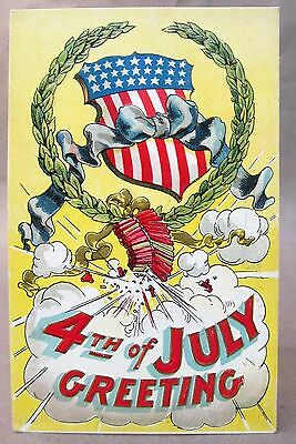 c. 1910 USA SHIELD IN WREATH with firecrackers 4th of July embossed postcard
