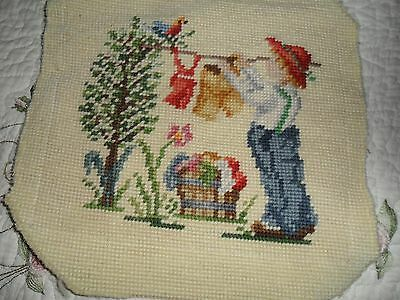 Antique/vtg Needlepoint 'hanging The Wash'  Picture Tapestry - Reduced Shipping