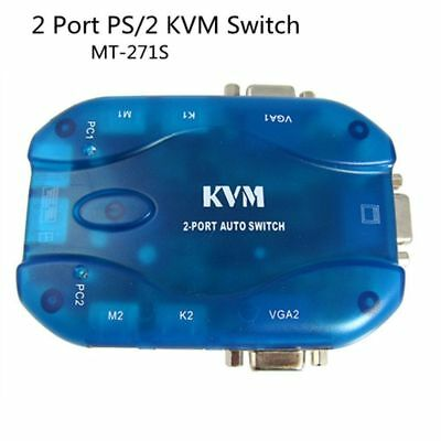 Auto KVM Switch 2 Port PS/2 VGA KVM Switch for PC Monitor Keyboard Mouse Control