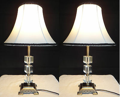 Pair of New Vintage Antique Classic Style Table Bedside Lamps Crystals on Stem