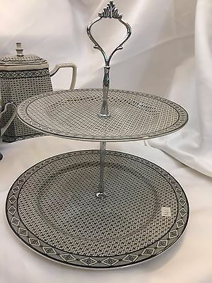 NEW Angad's blue & cream classic pattern 2 tier cake stand high tea party