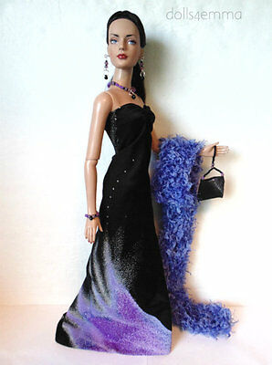 "TYLER Clothes Tonner 16"" OOAK GOWN, PURSE, BOA & JEWELRY HM Fashion NO DOLL d4e"