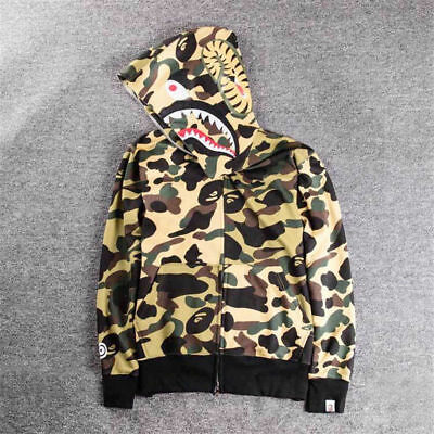 cce176b34bbc Hot Men s BAPE A Bathing Ape Hoodie Sweats Camo Shark Head Full Zip Coat  Jacket