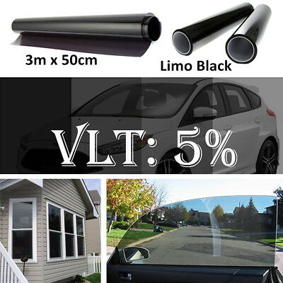 5% VLT Car Auto Home Van Boat Window Glass Tint Film Rolls Tinting Styling Shade