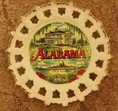 """Vintage Collector's Plate State of Alabama Hanging 7"""" Punch Through Gold Rim"""