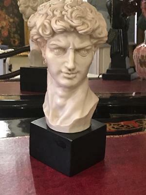 Antique Italian White Italian Marble Bust Of David On A Plinth.35 Cms