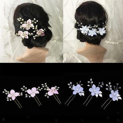 3pcs Wedding Bridal Hair Pins Flower Leaves Pearls Rhinestone Hair Accessories
