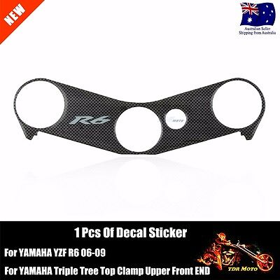 Triple Tree Top Clamp Cover Sticker Decal Pad For YAMAHA YZF R6 2006 2007 08 09