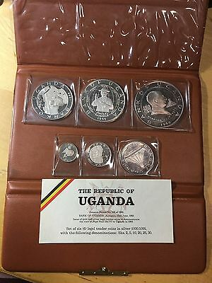Uganda 1969 Silver Proof Set, Visit Of Pope Paul VI (Box4)