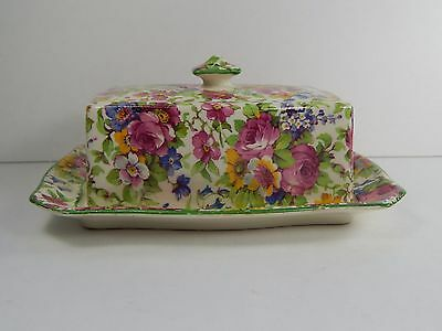 Royal Winton Grimwades England Butter Dish. Summertime Chintz. c1938-40