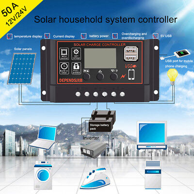 10/20/30/40/50A Waterproof Solar Panel Charge Regulator 12/24V LCD Controller