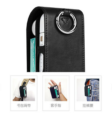 For iQOS Electronic Cigarette Luxury Flip PU Leather Case Box Pouch + Keychain