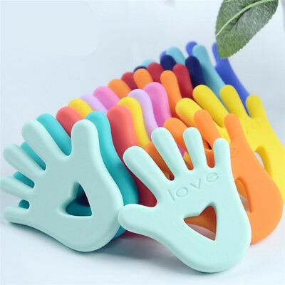 Love Hand Silicone Heart BABY Teething Ring Mitten Teether Ring Toy Multi Colour