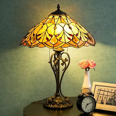 """Tiffany Style 14"""" Stained Glass shade Table Lamp Victorian 2-Light Home Decor"""