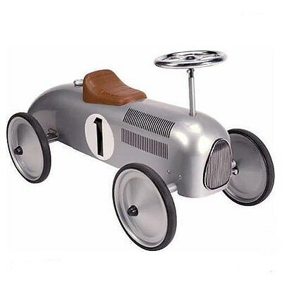Silver Classic Steel Ride On Toy Car. Retro Vintage Style. Strong Metal Ride On