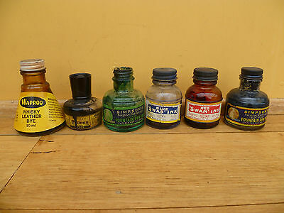 Vintage Old Lot Of 6 Advertising Ink Well's, Old Bottles