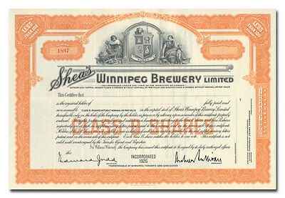 Shea's Winnipeg Brewery Limited Stock Certificate