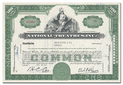 National Theatres, Inc. Stock Certificate (20th Century Fox Divestiture)