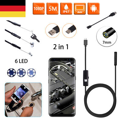 USB Endoskop Wasserdicht Endoscope Inspektionskamera 7mm 5M 6 LED Android Handy