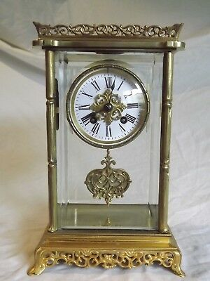 Unusual French Four Glass Clock C1890.
