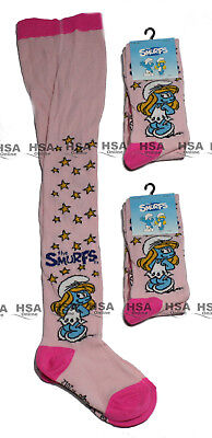 Girls Tights 1/2/3 Pack Smurf Character Kids Novelty Pink Cotton Birthday Gift