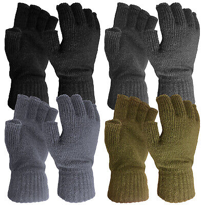 Mens Winter Practical Stretch Warm Thermal Knitted Fingerless Half Finger Gloves