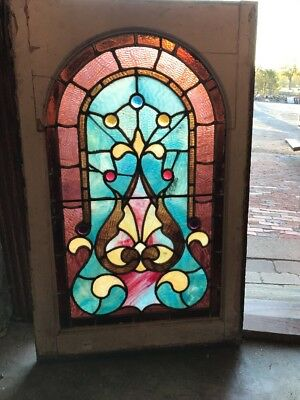 Sg 1550 Antique Arch Top Stainglass Window Jewels 22.5 X 35.5