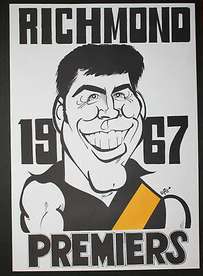 1967 Richmond Premiers Weg poster Bill Barrot caricature Tigers Premiership