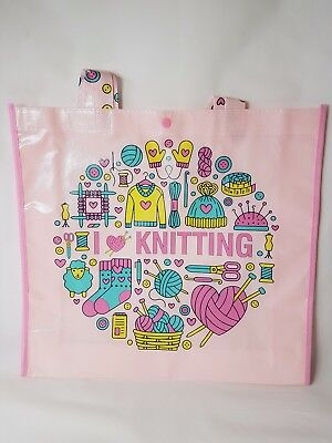 I LOVE KNITTING tote bag, weather resistant bag, tote, shopping bag, project bag