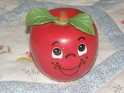 Vintage Fisher Price Roly Poly HAPPY APPLE Chime Ball Short Stem