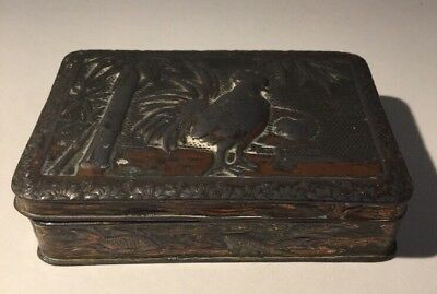 Antique Japanese Mixed Metal Box Pewter / Copper. Roosters & Fish Design. REFURB