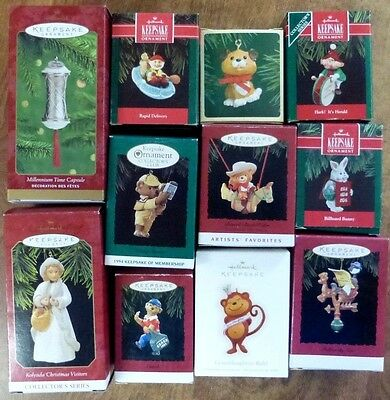Lot of 11 HALLMARK Keepsake Ornaments in Boxes  New & Used Christmas #20