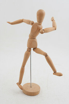 "Wooden Artist's Model Art Figure Articulated 13"" w/Stand (G4L) Mannequin"