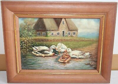 Lovely Vintage Animal Oil Painting Wild Ducks Group and Drink Water