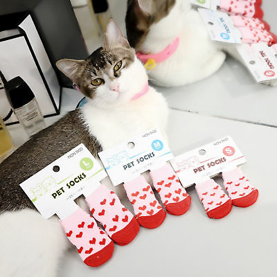Nice Pet Dog Cat Socks Cotton Anti Slip Knitted Winter Warm Skid Shoes 4Pcs/Set