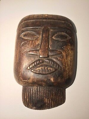 Carved African Wood Tribal Face
