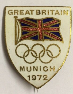 British Olympics Team Official Enamel Badge Munich 1972
