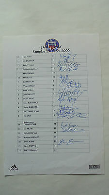 Bath Rugby Signed Sheet 2000