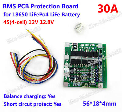 4S 30A 12V LiFePo4 18650 Battery Cell BMS Protection Plate PCB w/Balance Board