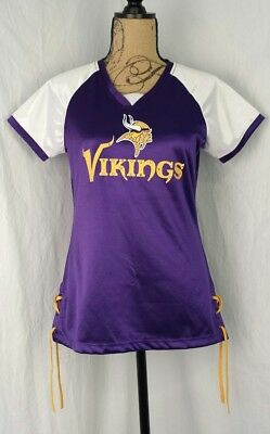 NFL Womens Jersey Minnesota Vikings Small Laces Satiny SOFT Purple Bling t-shirt