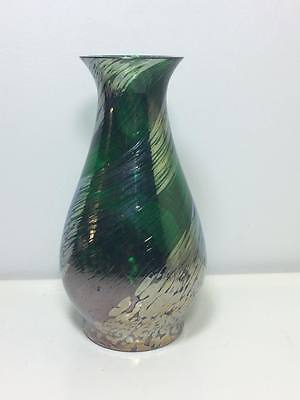 Caithness green with silver oil drop swirl art glass vase made in Scotland